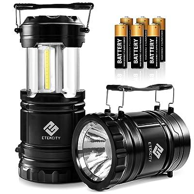 Etekcity 2 Pack LED Camping Lantern Battery Powered Flashlights Portable 2-in-1 Collapsible Lantern Lights