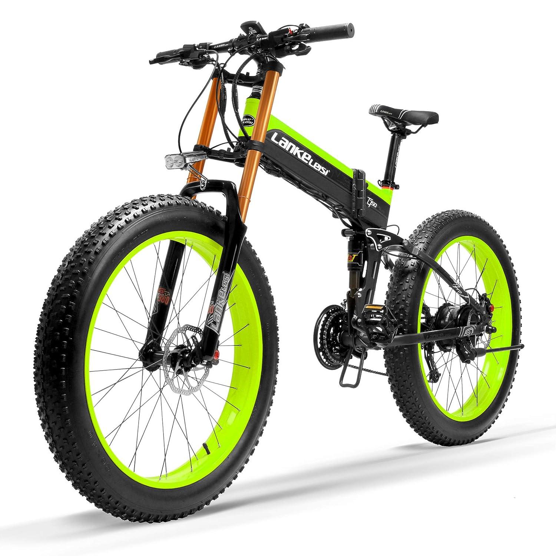 T750Plus新マウンテンバイク5レベルペダルアシストセンサー、48V 14.5Ahリチウムイオンバッテリー、ダウンヒルフォークスノーバイクにアップグレード、駆動補助機付自転車 1000W標準 ブラックグリーン B07L599FH5
