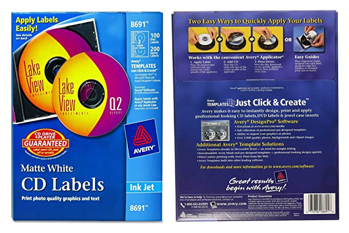 Amazon Avery Cd Labels 100 Disc Labels 200 Spine Labels