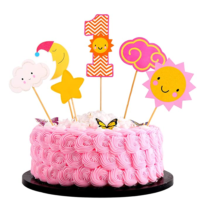 Brilliant Artczlay 1St Happy Birthday Cake Topper Flash Sun Star Moon Baby 1 Personalised Birthday Cards Cominlily Jamesorg