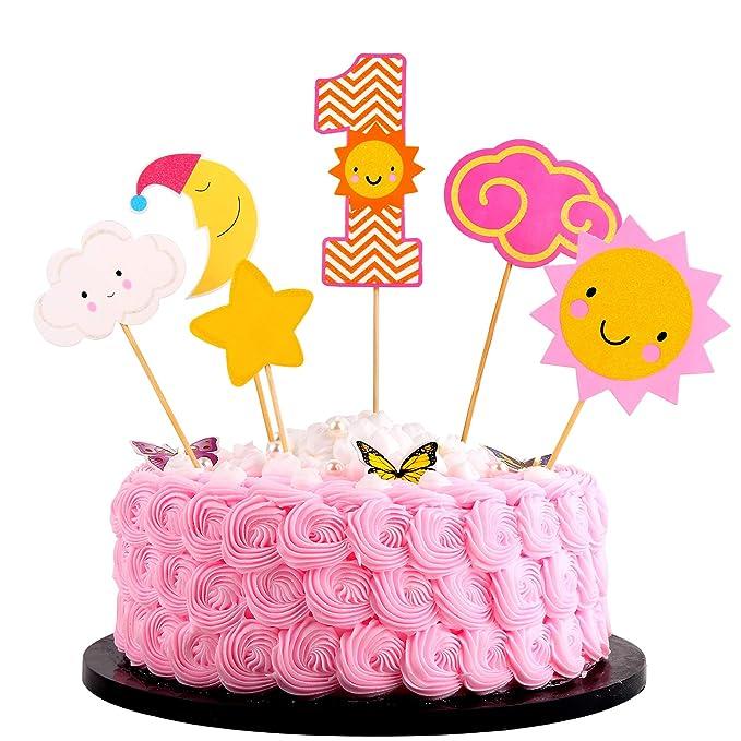 Astounding Artczlay 1St Happy Birthday Cake Topper Flash Sun Star Moon Baby 1 Personalised Birthday Cards Paralily Jamesorg