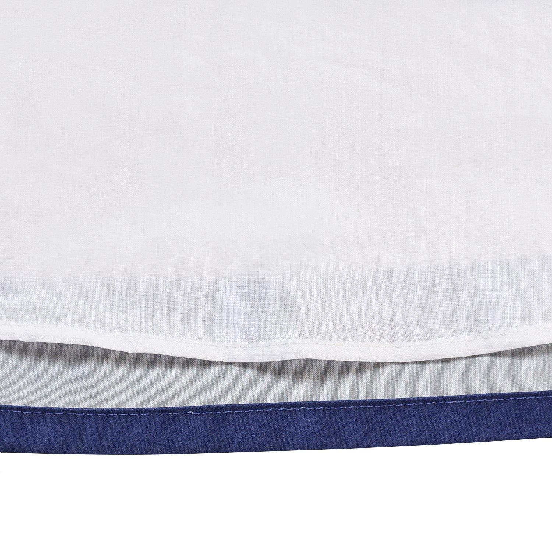 Sunny Fashion Girls Dress Navy Blue V-Neckline Ribbon Color Contrast Size 6-12