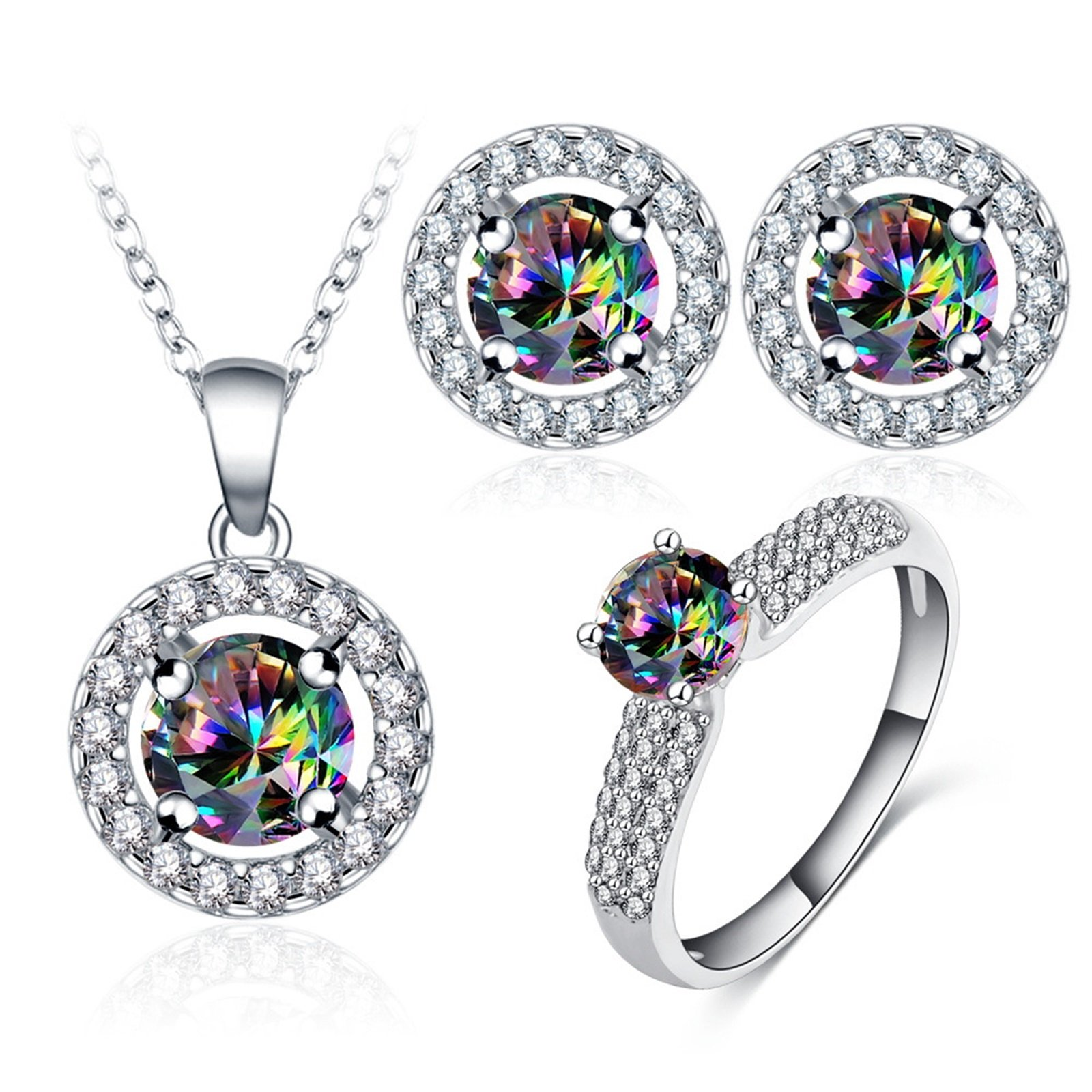 Daesar Wedding Ring and Earrings and Necklace Jewelry Set for Women Colorful Cubic Zirconia Ring Size 7
