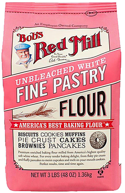 Bob's Red Mill ~ Fine White Pastry Flour Unbleached ~ 3 lbs ~ America's Best Baking Flour (Single 3lb Bag)