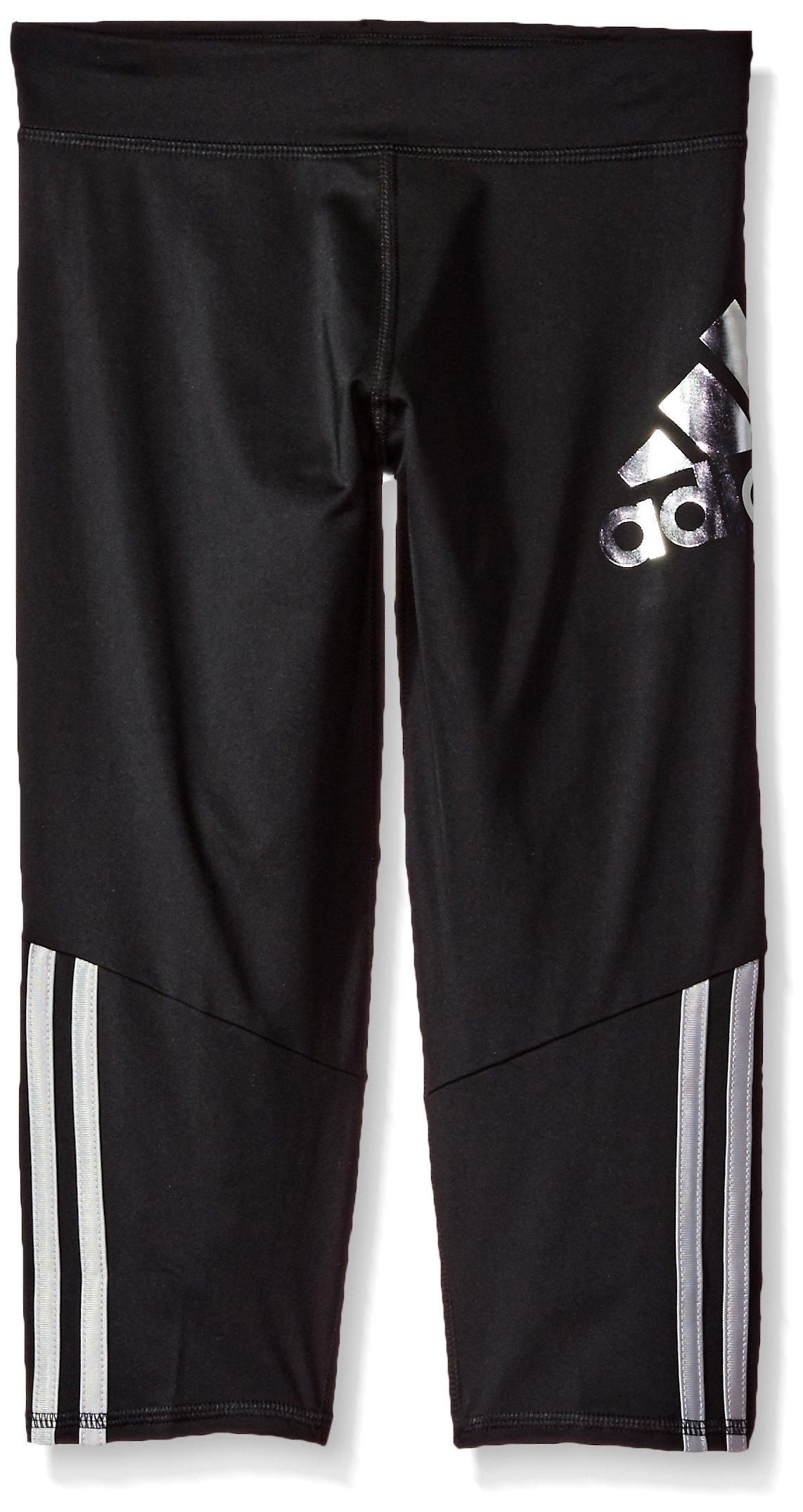 adidas Girls' Big Capri Legging, Black, M