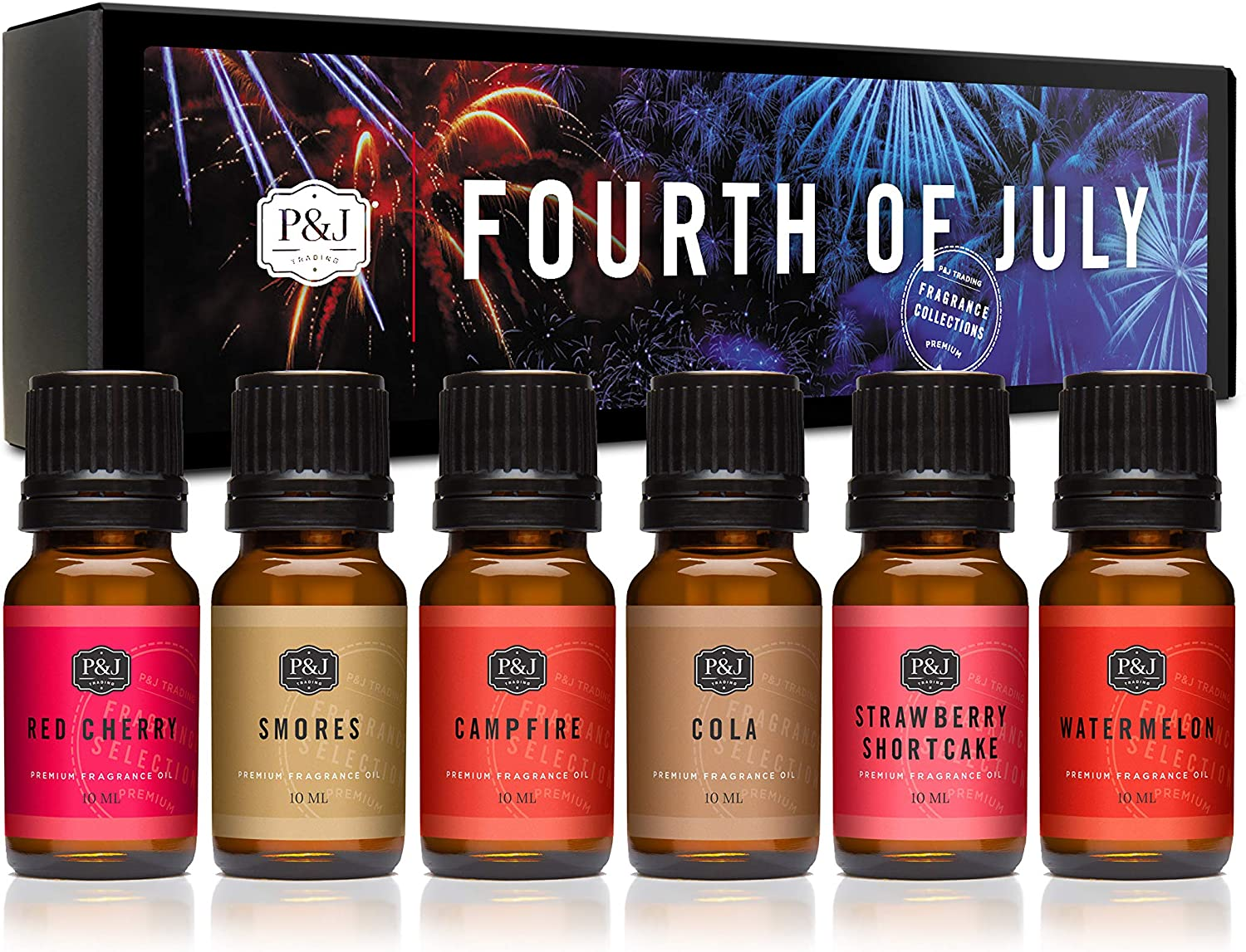 P&J Trading Fragrance Oil | Fourth of July Set of 6 - Premium Grade Fragrance Oils - Red Cherry,Smores,Campfire,Cola,Strawberry Shortcake, Watermelon
