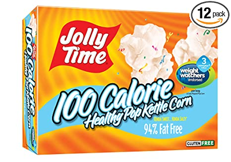 Amazon.com: Jolly Time Healthy Pop Kettle Corn - 100 Calorie Microwave  Popcorn Mini Bags, 4-Count Boxes (Pack of 12)