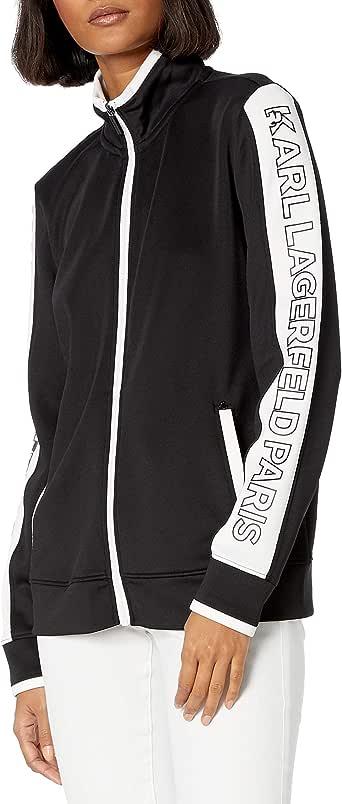 Karl Lagerfeld Paris Women's Funnel Neck Zip Up Sweatshirt