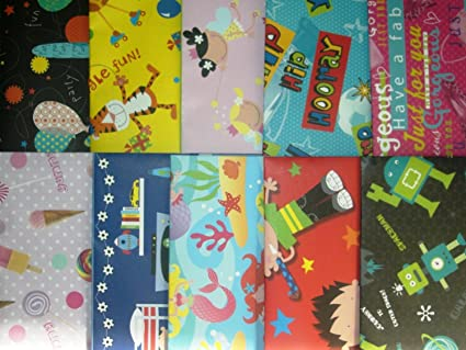 Paper ThemesPack of 10 Assorted Gift Wrap Wrapping Paper Childrens Stationery & Office Supplies