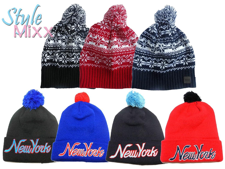 7e60063ebbb STYLE MIXX Mens Ladies Fair Isle New York Bobble Beanie Hat Wooly Knitted  Ski Pom Pom Hat (BLACK FAIRISLE)  Amazon.co.uk  Clothing