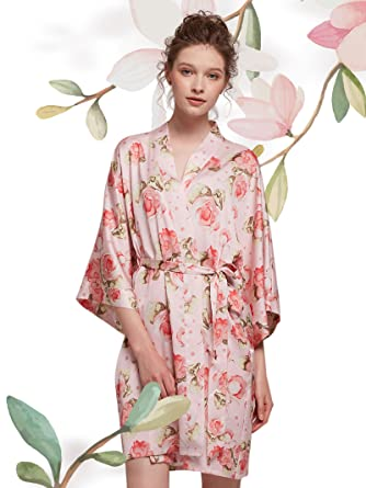 f79b7a2d67 AW Floral Satin Robes for Women Bridesmaid Sleepwear Bathrobe Kimono Robe  Short