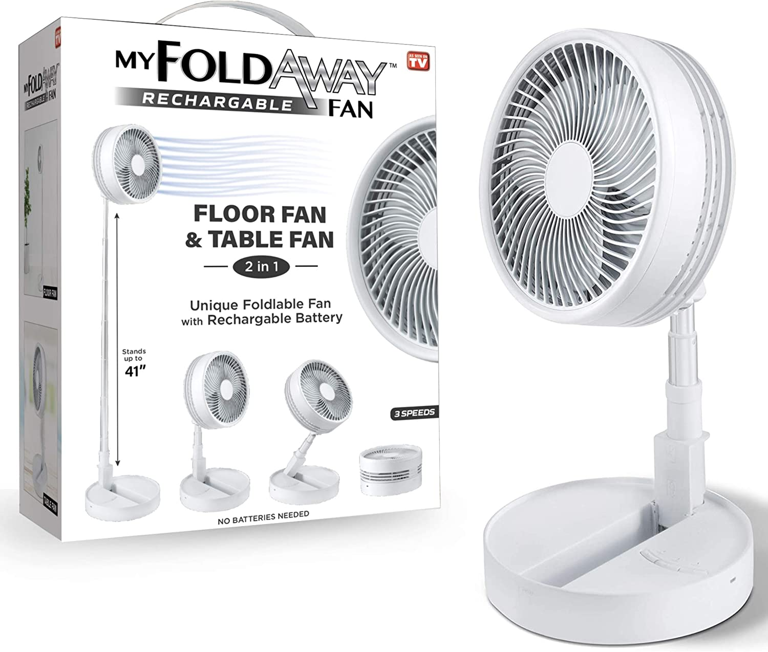 MY FOLDAWAY FAN by Bell+Howell Rechargeable Fan Ultra Lightweight Portable Compact Extendable to 4 Feet High with 3 Speed Modes As Seen On TV
