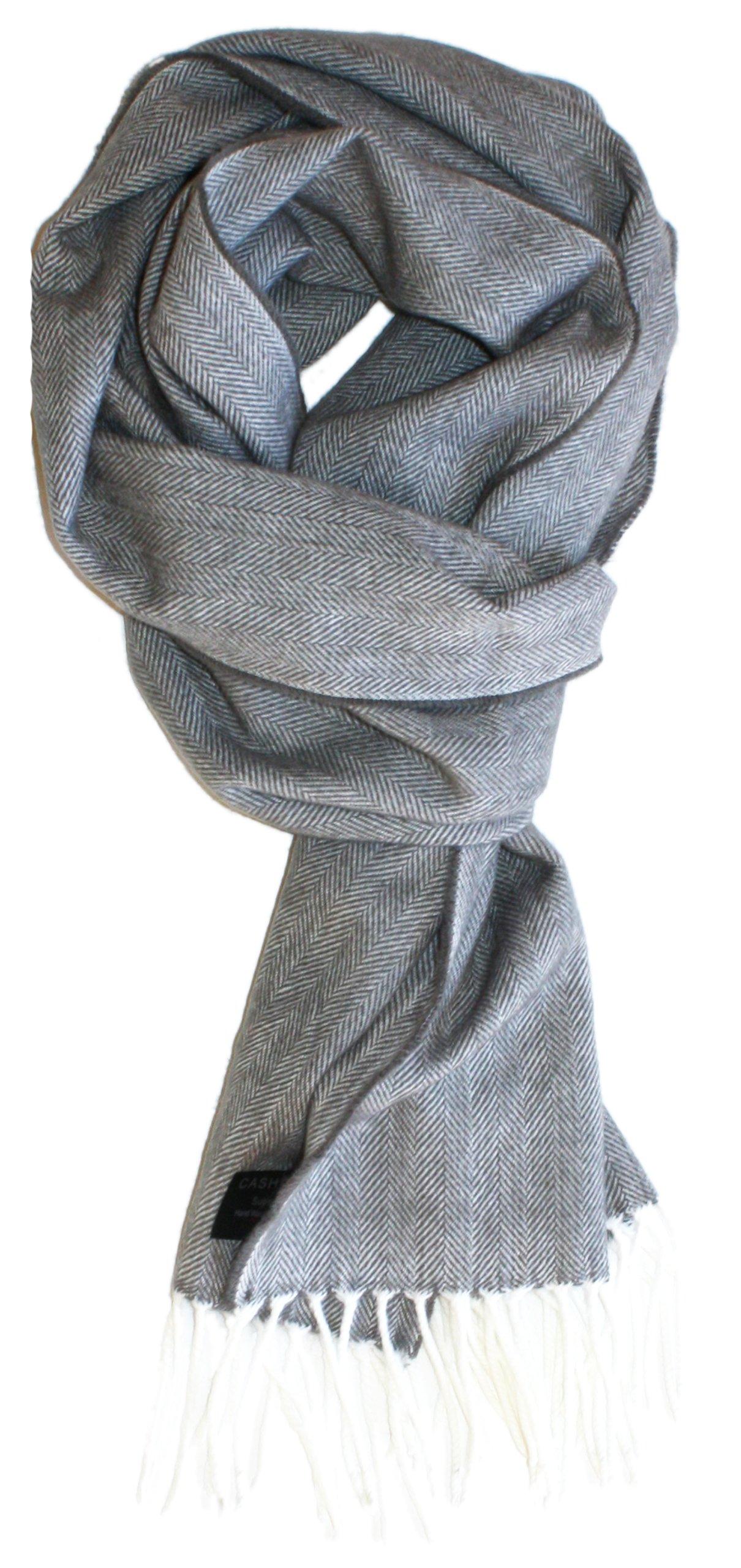 SethRoberts-Men's Traditional Herringbone Weave Cashmere Blend Winter Scarf (Pale Grey)