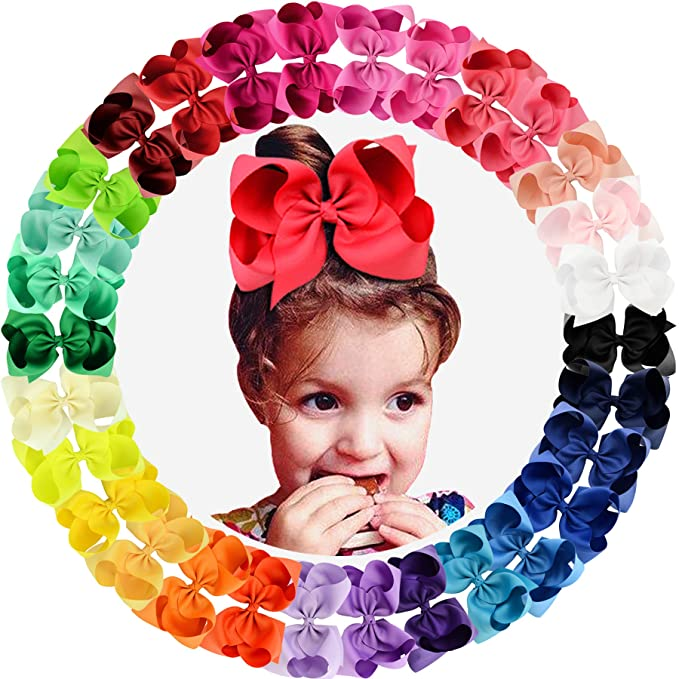 BRH 6 Hair Bows Clips Grosgrain Ribbon Larger Bows Hair Alligator Clips Hair Accessories for Baby Girls Toddlers Kids Teens Little Girls 20 PACK