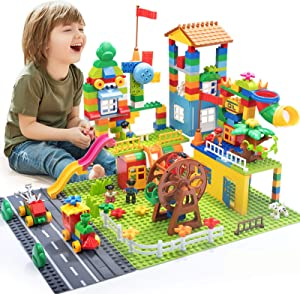 iHaHa 238PCS Kids Building Block Set, Building Toys for Kids with 6 Baseplate, Windmills and Ferris Wheel for a Complete Amusement Park Scene, STEM Educational Blocks Toy for Toddler Ages 3+