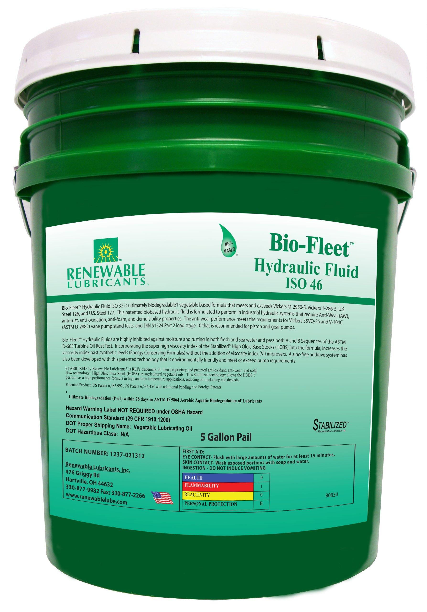 Renewable Lubricants Bio-Fleet ISO 46 Hydraulic Lubricant, 5 Gallon Pail by Renewable Lubricants