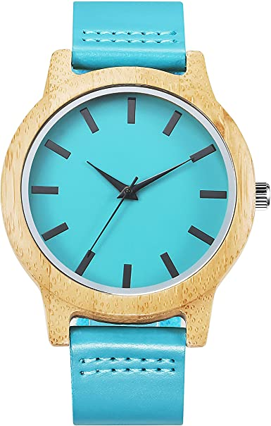 Kenon Reloj de Madera para Hombre, Casual para Hombre, Reloj de Pulsera de Cuarzo de Piel Azul, Hecho a Mano, Reloj de bambú Natural, Caja de Regalo