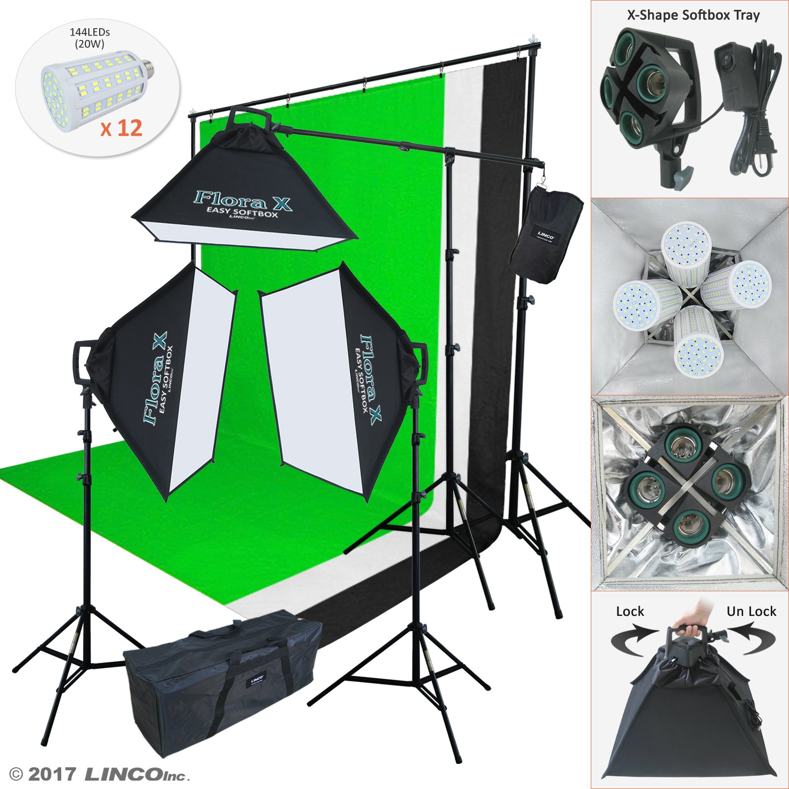 Linco Lincostore Photo Studio Lighting Kit With 3 Color Muslin Backdrop Stand Photography Flora X Fluorescent 4-Socket Light Bank and Auto Pop-Up Softbox -- Only takes 3 seconds to Set-up AM173 by Linco