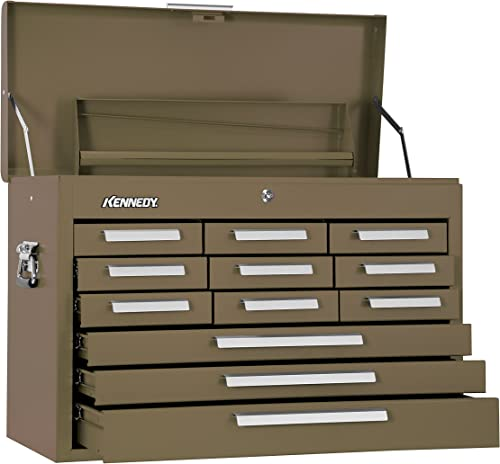 Kennedy Manufacturing 2812B 29 12-Drawer Mechanics Chest with Tote Tray, Tan Brown Wrinkle