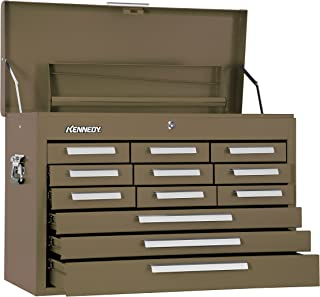"""product image for Kennedy Manufacturing 2812B 29"""" 12-Drawer Mechanics' Chest with Tote Tray, Tan Brown Wrinkle"""
