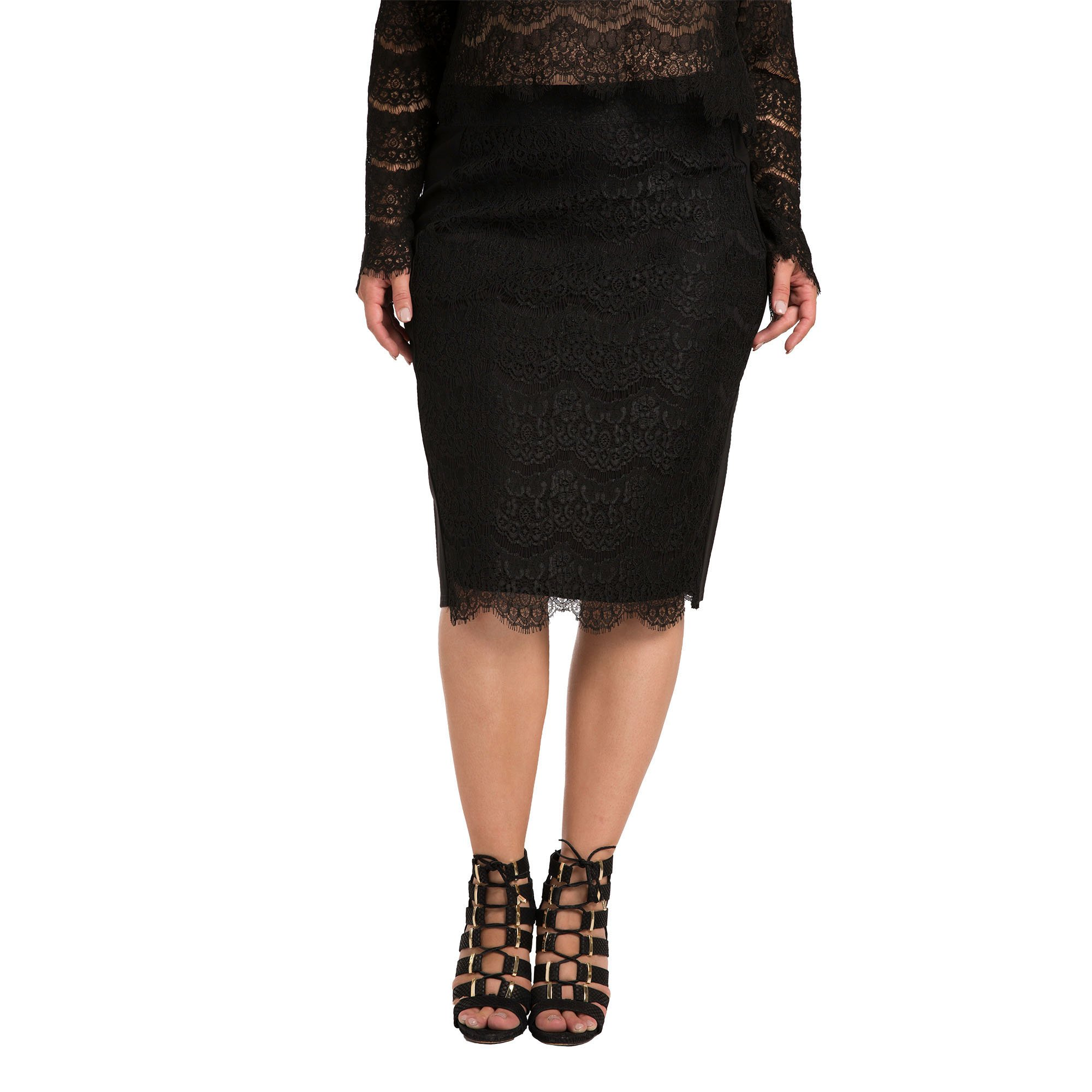 Standards & Practices Contemporary Women's Plus Size Black Ponte Lace Pencil Skirt Size 2X