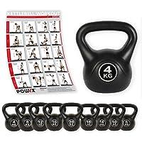 POWRX Kettlebell Kugelhantel Kunststoff 4 kg - 20 kg inkl. Workout