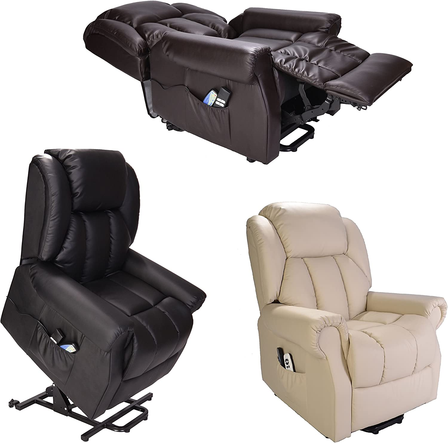 Hainworth Leather Dual Motor riser recliner chair with heat and massage brown