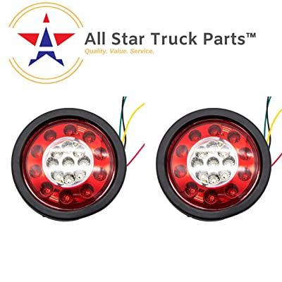 "2Pcs 4.3"" Inch Round led Trailer Tail Lights 19 LED Red Brake Stop Turn Tail Running Lights and Amber Turn Signal Indicator Lights Multi Functions Grommet Mount Sealed for RV Trucks: Automotive"