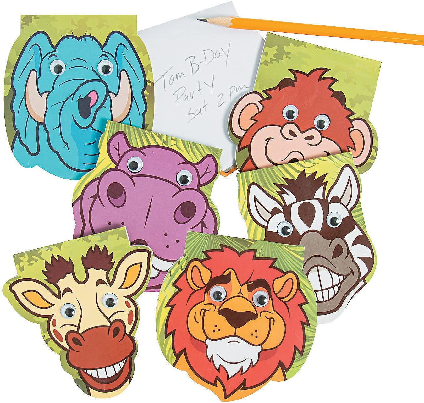 Stationery Fun Express Notepads Zoo Animal Notepads W//Google Eyes 24 Pieces Notepads