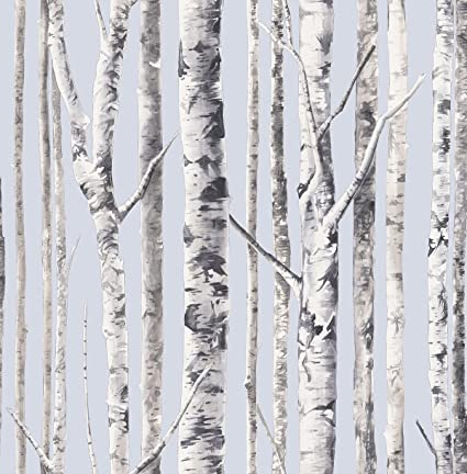 Birch Wallpaper Periwinkle Blue White Country Forest Trees