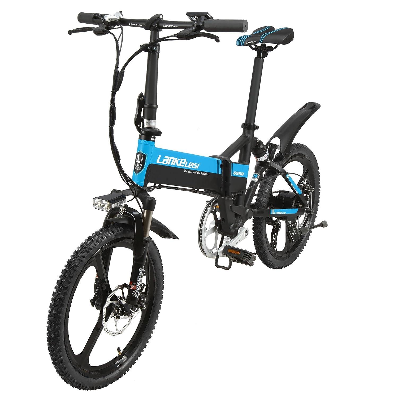 Extrbici G550 マウンテンバイク 折り畳み自転車 mini自転車 ミニ 5ギアアシストモード シマノ7段変速 20インチ バッテリー48V10AH 電機240W 機械式ディスクブレーキ 通勤通学用 新品セール B07FDK9L2M  黒青