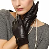ELMA Nappa Leather Gloves Suede Cuff Leather Bow Gold Plated Logo