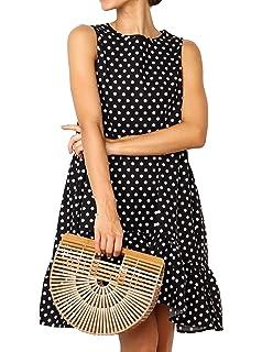 1dd58343b2267 Huaxiafan Womens Summer Sleeveless Polka Dot Ruffle Loose Swing Midi Dresses