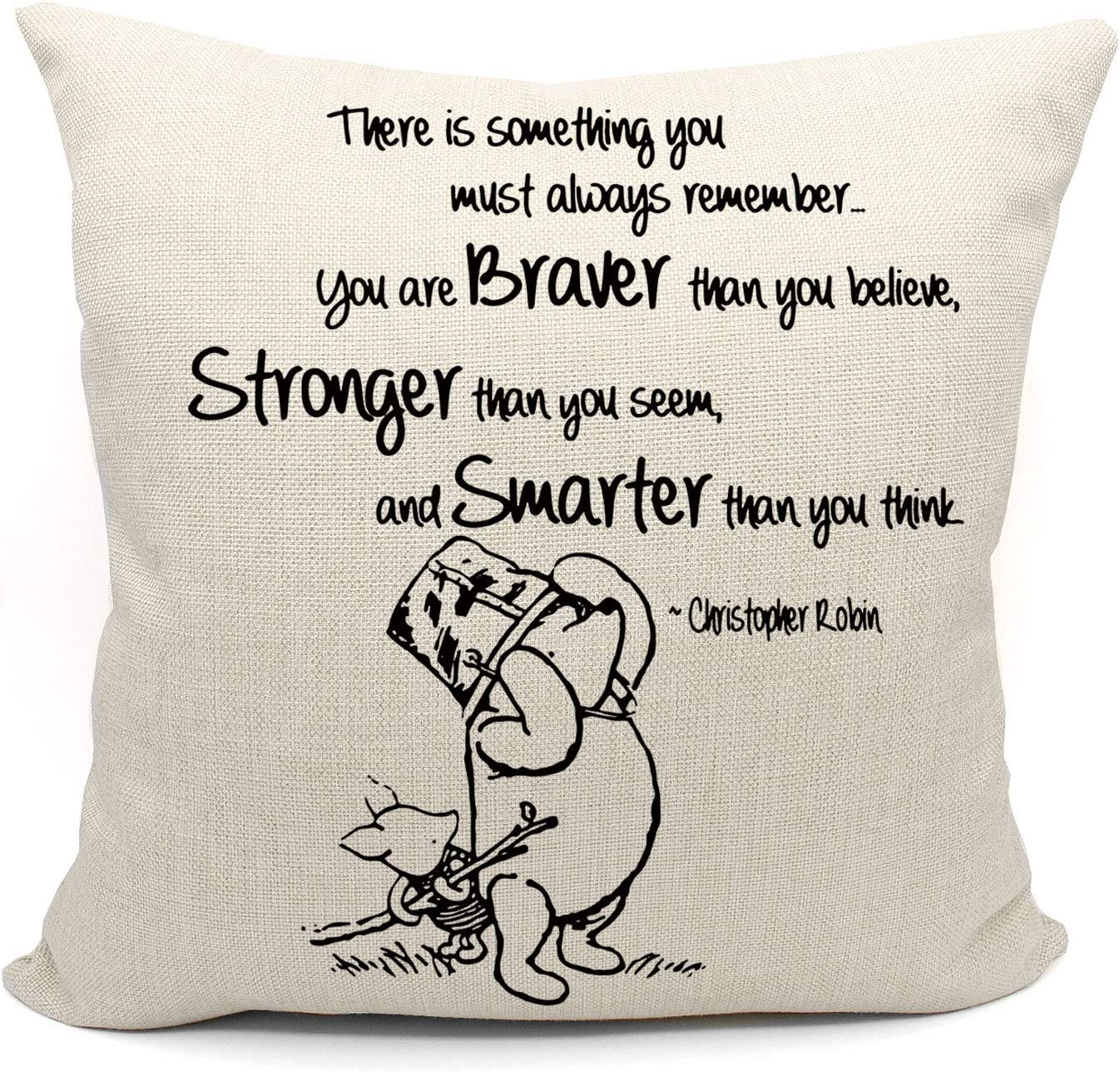 Mancheng-zi Cartoon Winnie The Pooh Throw Pillow Case, Friend Friendship Quote Gift, 18 x 18 Inch Linen Cushion Cover for Sofa Couch Bed