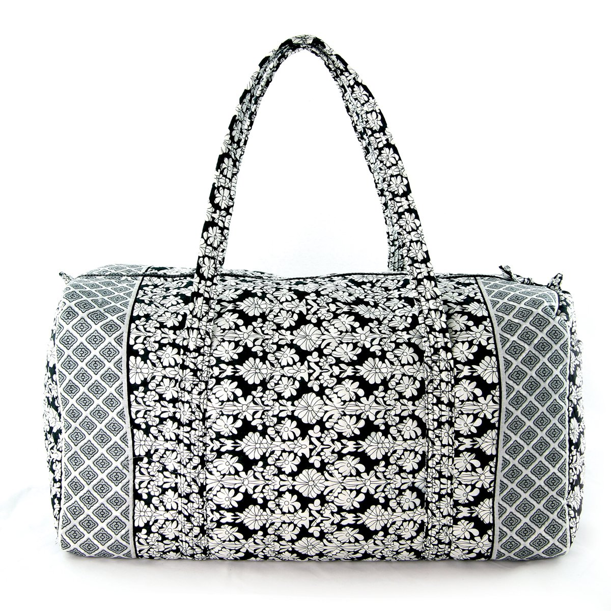 Floral Quilted Cotton Duffle Bag Black/White by WonderMolly (Image #1)
