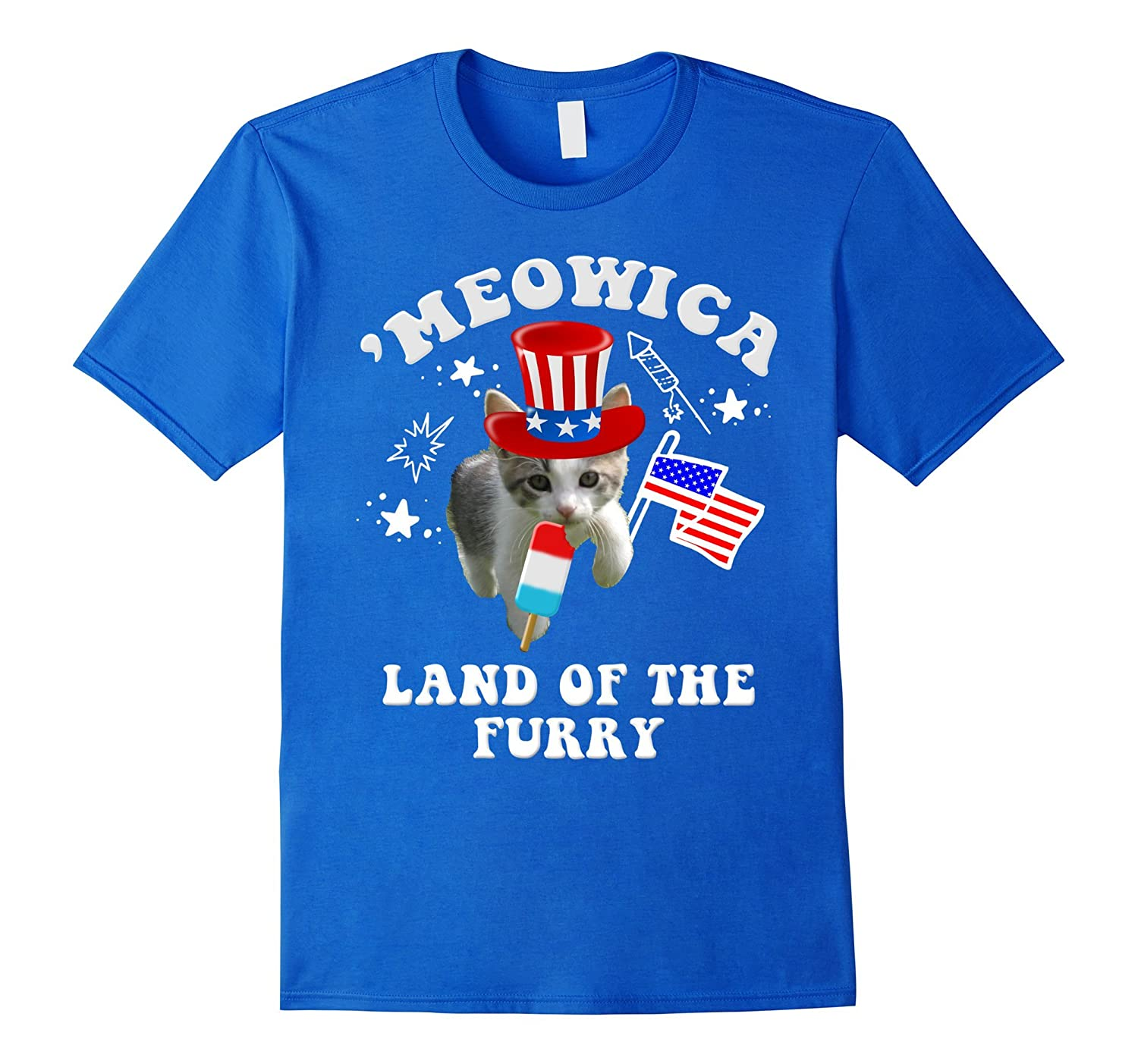'Meowica Land Of The Furry 4th of July Patriotic Cat Tee-TH