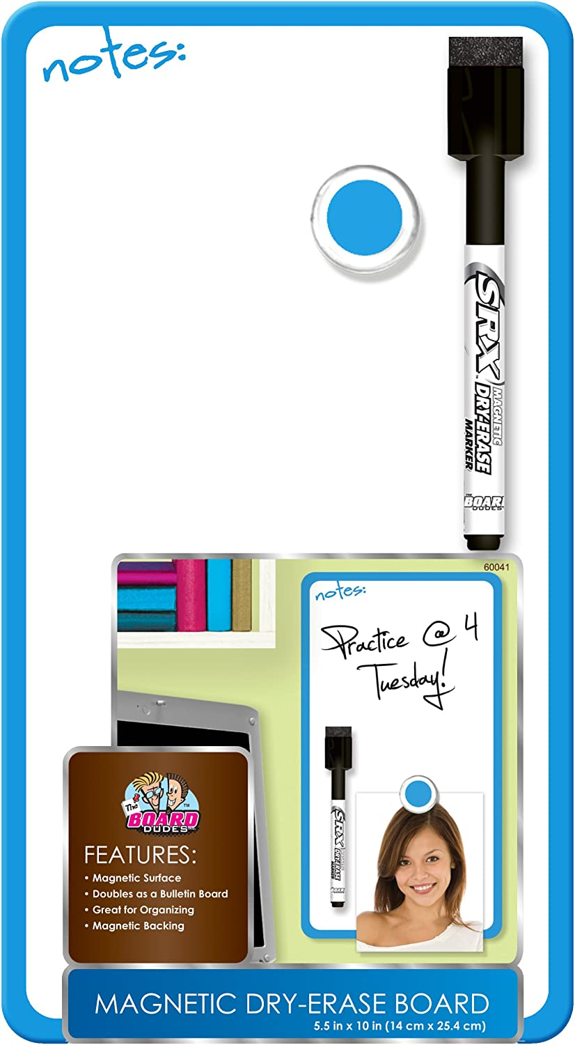 Board Dudes 5.5 x 10 Inches Magnetic Dry Erase Board Includes 1 Marker and Magnet Frame Color May Vary (DDD10)