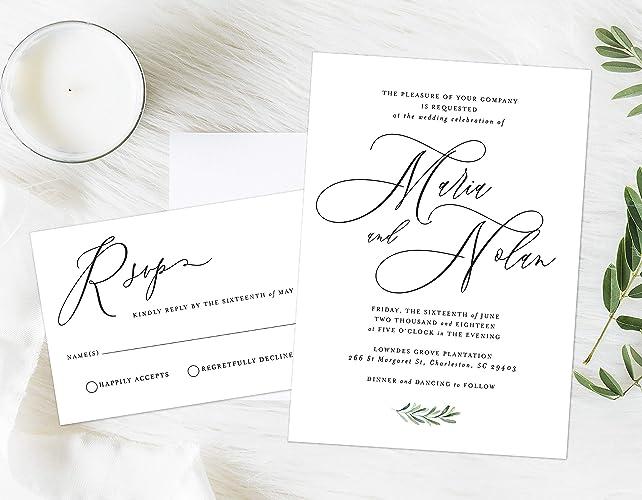 Fancy Wedding Invitations.Amazon Com Elegant Wedding Invitation Fancy Script Formal Wedding