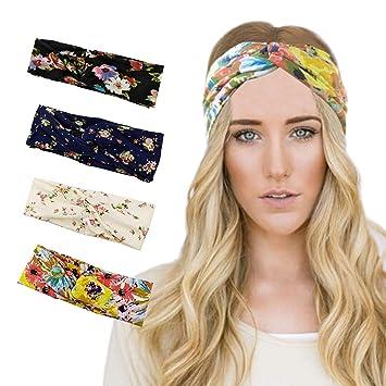 Amazon.com  4 Pack Women Headband Vintage Modern Style Elastic ... 4e608e1a941