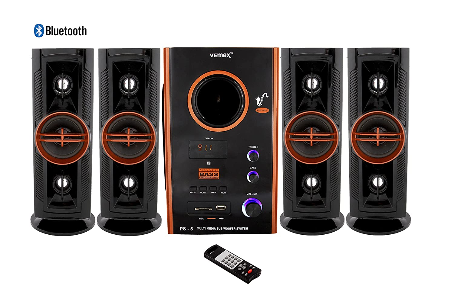 Vemax Eiffel Bluetooth 6 50 inch woofer with 25000w PMPO Hi Bass Surround  Sound System and Tower Speakers (Black & Copper)
