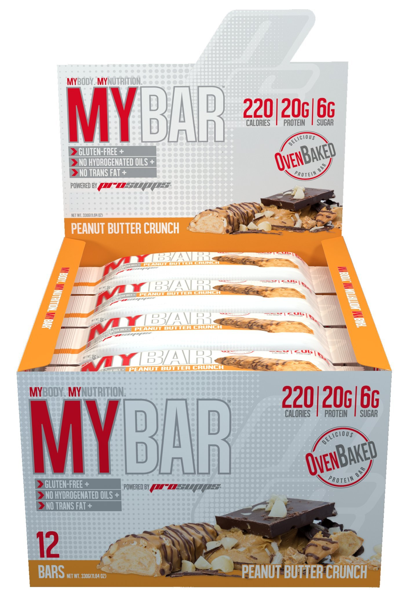 Pro Supps Mybar Protein Bar, New Peanut Butter Crunch, 12 Count