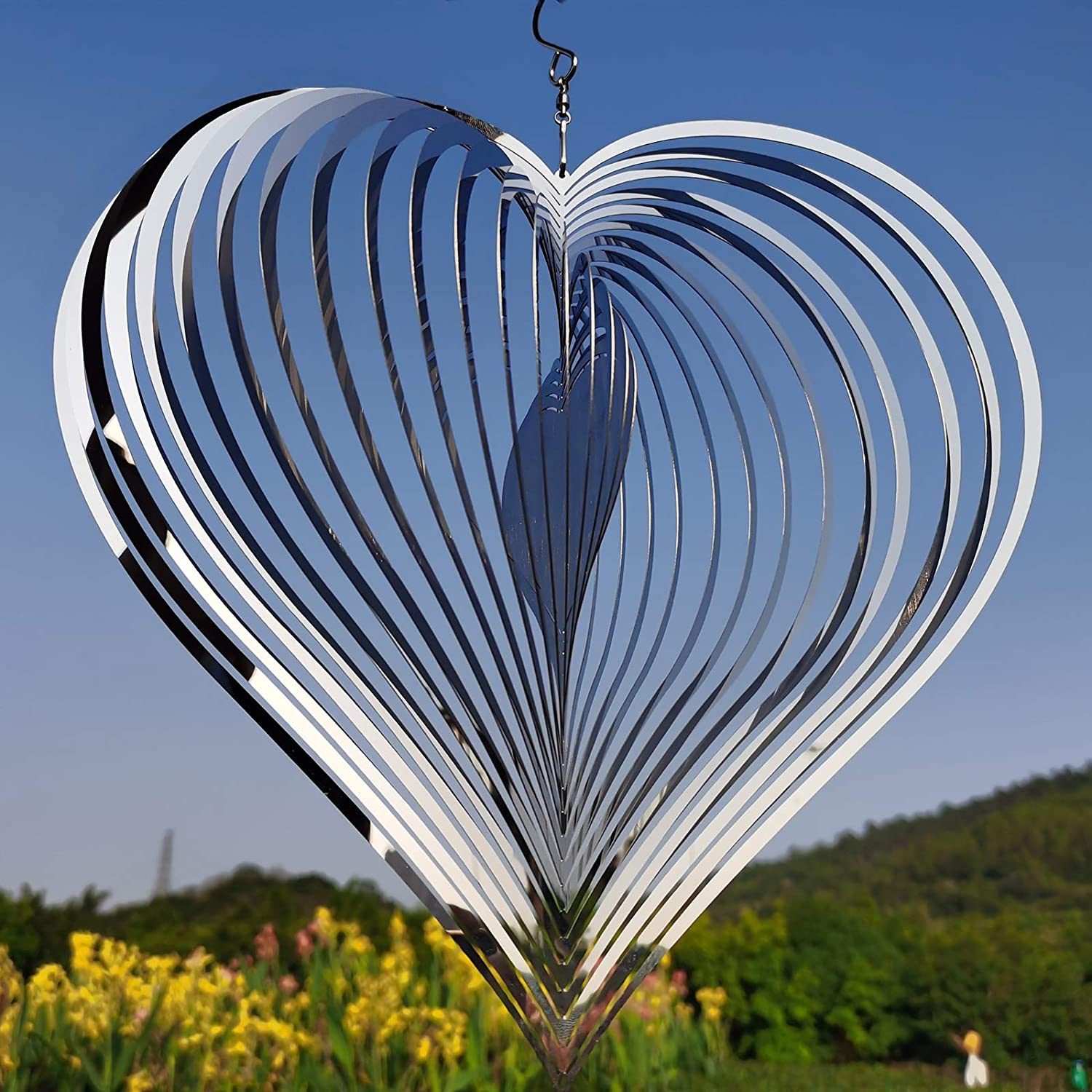 DJUAN 12inches Big Size 3D Mirror Stainless Steel Wind Spinner Worth Gift Indoor Outdoor Garden Decoration Crafts Ornaments,Silver Heart Crafts Ornaments Metal Wind Sculptur
