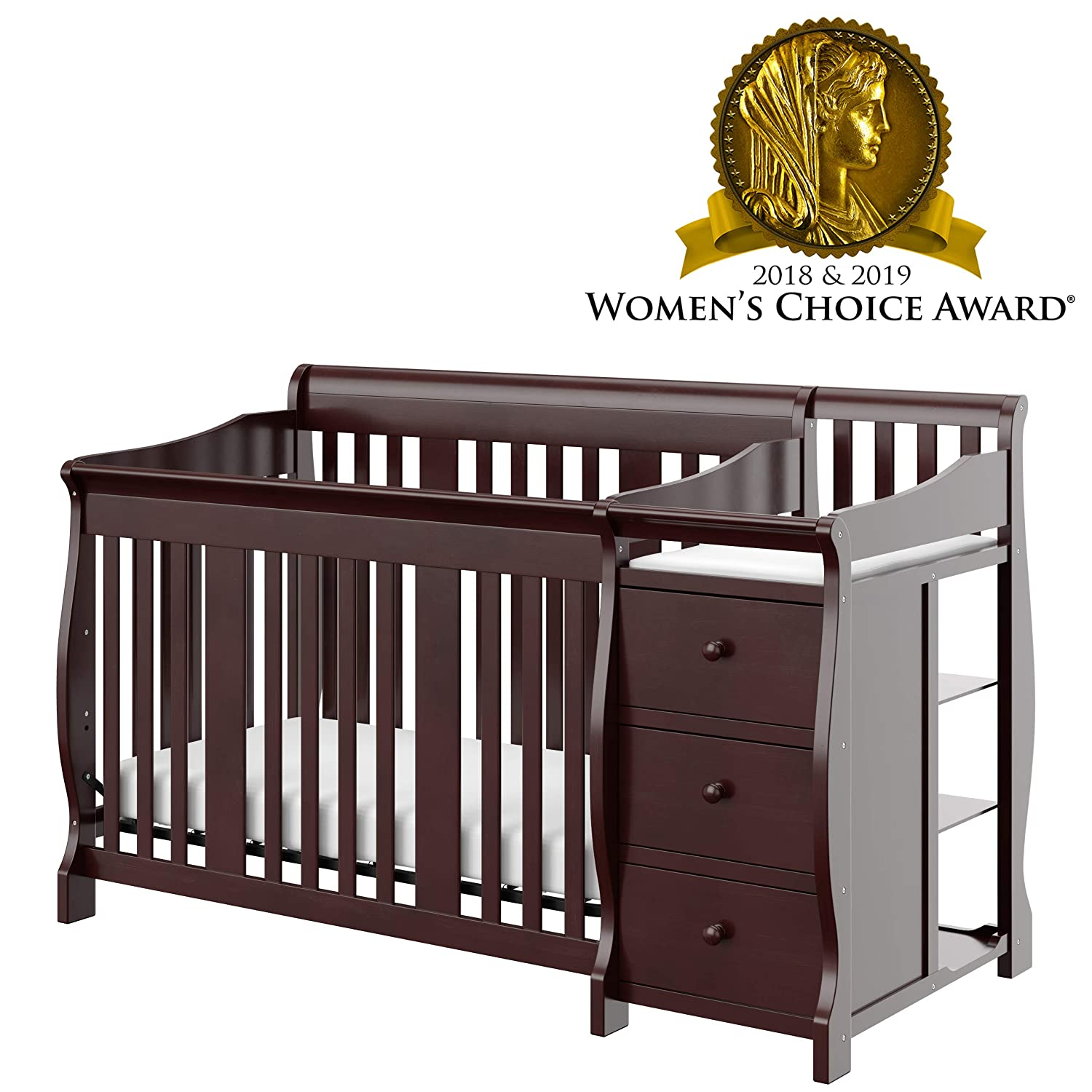 Storkcraft Portofino 4-in-1 Fixed Side Convertible Crib and Changer, Espresso, Easily Converts to Toddler Bed Day Bed or Full Bed, Three Position Adjustable Height Mattress Mattress Not Included