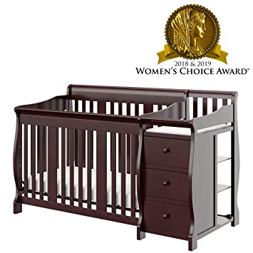 Storkcraft Portofino 4-in-1 Fixed Side Convertible Crib and Changer,  Espresso, Easily Converts to Toddler Bed Day Bed or Full Bed, Three  Position ...