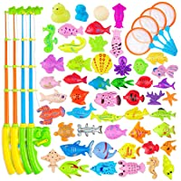 AUUGUU Magnetic Fishing Game Water Toy – 4 Fishing Poles with Working Reels, 4 Nets...