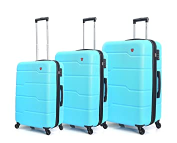 14994b439742 DUKAP Rodez Lightweight Hardside 3 piece Luggage set 20''/24''/28'' Light  Blue