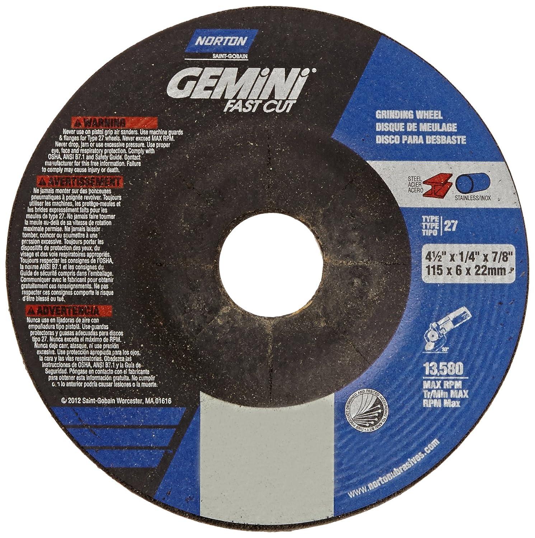Norton Gemini Fast Cut Depressed Center Abrasive Wheel, Type 27, Aluminum Oxide, 7/8
