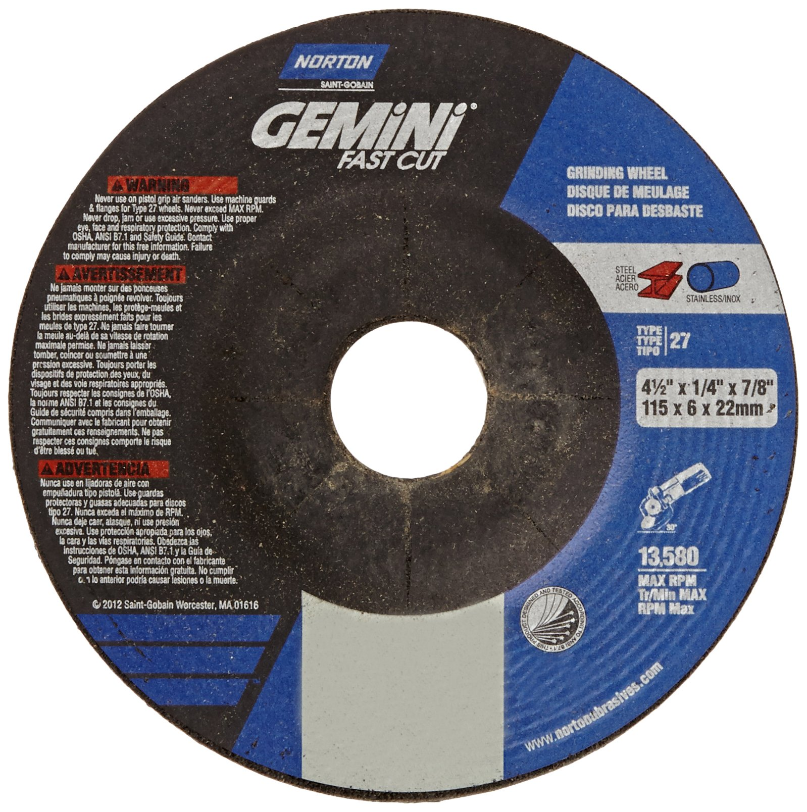 Norton Gemini Fast Cut Depressed Center Abrasive Wheel, Type 27, Aluminum Oxide, 7/8'' Arbor, 4-1/2'' Diameter X 1/4'' Thickness (Pack of 25)