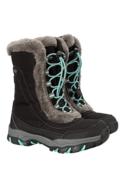 229e8f6781d Mountain Warehouse Ohio Youth Snow Boots - Kids Warm Winter Shoes Black 3  Child US