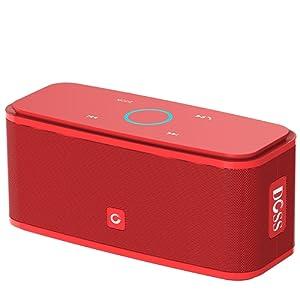 Haut-parleurs Portable Bluetooth DOSS sans fil, Haut-parleur Bluetooth V4.0 avec haute définition qualité sonore & basse supérieure, commande tactile, 12 heures d'autonomie, mains-libres [Rouge] – Soundbox